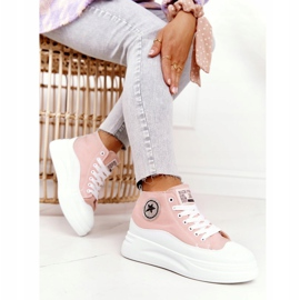 Women's High Sneakers On The Platform Pink Nice Girl white 1