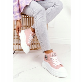 Women's High Sneakers On The Platform Pink Nice Girl white 2
