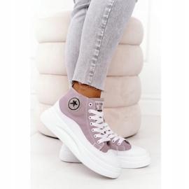 Women's High Sneakers On The Gray Platform Nice Girl white grey 1