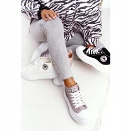 Women's High Sneakers On The Gray Platform Nice Girl white grey 3