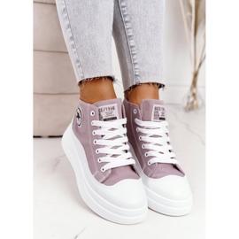 Women's High Sneakers On The Gray Platform Nice Girl white grey 5