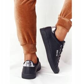 Women's Leather Sneakers Big Star DD274586 Black-Silver 3