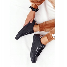 Women's Leather Sneakers Big Star DD274586 Black-Silver 2