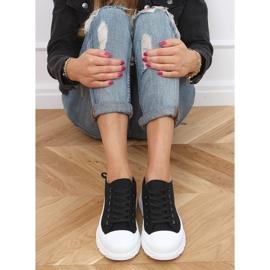Black women's sneakers (white sole) LA122 Black 2