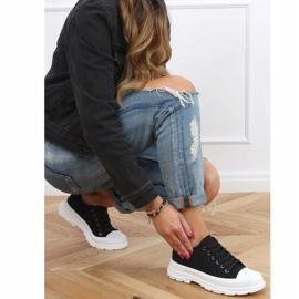 Black women's sneakers (white sole) LA122 Black 3