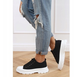 Black women's sneakers (white sole) LA122 Black 4