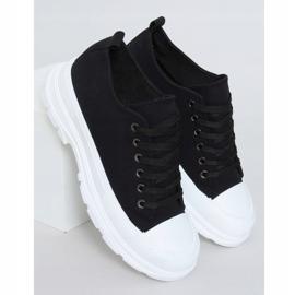 Black women's sneakers (white sole) LA122 Black 1