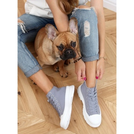 Gray women's sneakers LA123 blue grey 2