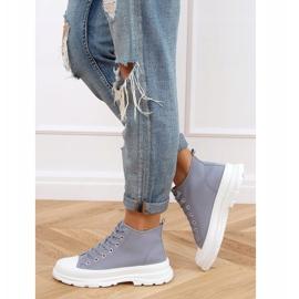 Gray women's sneakers LA123 blue grey 3