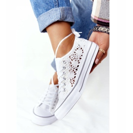 FB2 Women's White Lace Candice Sneakers 3
