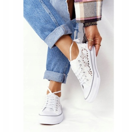 FB2 Women's White Candice Lace Sneakers 2