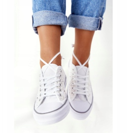 FB2 Women's White Candice Lace Sneakers 5