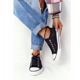 FB2 Women's Black Lace Candice Sneakers 1