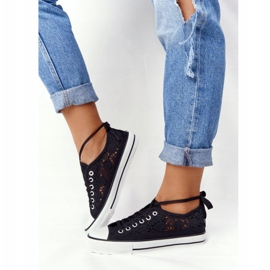 FB2 Women's Black Lace Candice Sneakers 6
