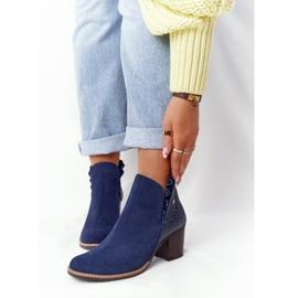 Women's Leather Boots On A Heel Maciejka Navy Blue 04833-17 3