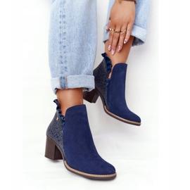Women's Leather Boots On A Heel Maciejka Navy Blue 04833-17 2