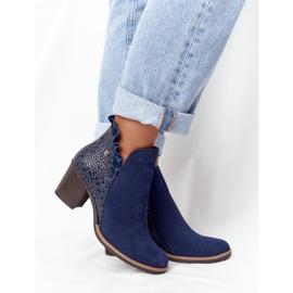 Women's Leather Boots On A Heel Maciejka Navy Blue 04833-17 5