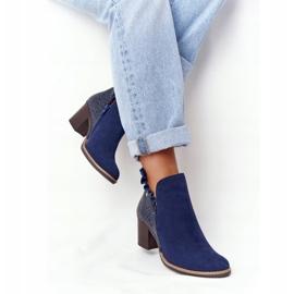Women's Leather Boots On A Heel Maciejka Navy Blue 04833-17 4