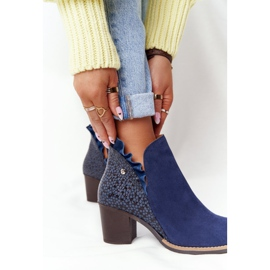 Women's Leather Boots On A Heel Maciejka Navy Blue 04833-17 1
