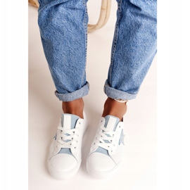 Women's Leather Sneakers With a Star Big Star DD274692 White-Blue 14