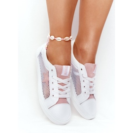 Women's Sneakers With Mesh Big Star DD274688 White-Pink 4