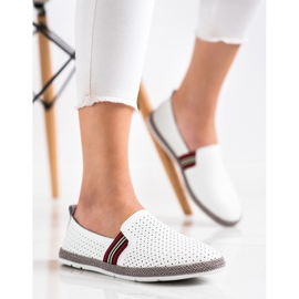 Filippo White Leather Slipons 2