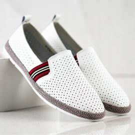 Filippo White Leather Slipons 4