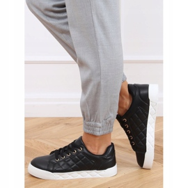 Black quilted women's sneakers BL232P Black 3