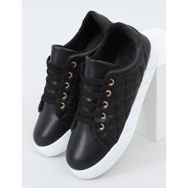 Black quilted women's sneakers BL232P Black 1