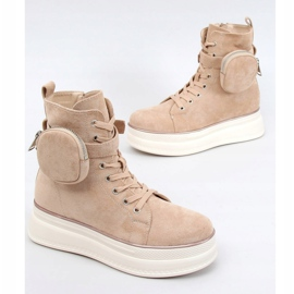 High-top sneakers with a pouch beige HO263 Beige 1