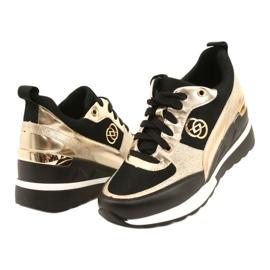 Evento Women's Wedge Sneakers 21PB35-4001 Black Gold Roxette golden 3