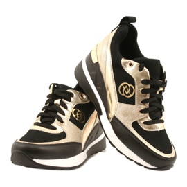 Evento Women's Wedge Sneakers 21PB35-4001 Black Gold Roxette golden 4