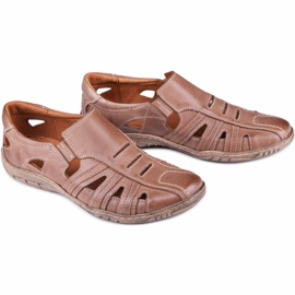 Kampol Men's openwork shoes for the summer 16/13 brown 6