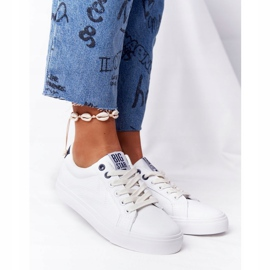 Women's Leather Sneakers Big Star BB274211 White and Navy Blue 5