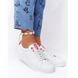 Women's Leather Sneakers Big Star BB274210 White and Red 6