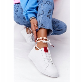 Women's Leather Sneakers With A Ribbon Big Star DD274685 White 3