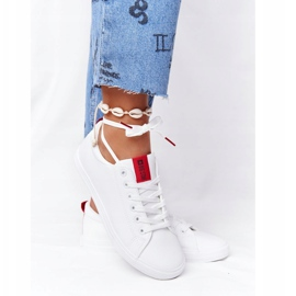 Women's Leather Sneakers With A Ribbon Big Star DD274685 White 6