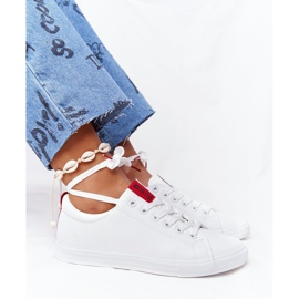 Women's Leather Sneakers With A Ribbon Big Star DD274685 White 7