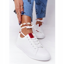 Women's Leather Sneakers With A Ribbon Big Star DD274685 White 2