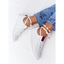 Women's Leather Sneakers With A Ribbon Big Star DD274685 White 4