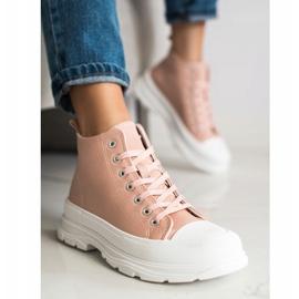 SHELOVET High Sneakers On The Platform pink 2