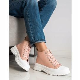 SHELOVET High Sneakers On The Platform pink 3
