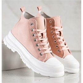 SHELOVET High Sneakers On The Platform pink 1