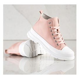 SHELOVET High Sneakers On The Platform pink 4