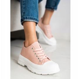 SHELOVET Pink Sneakers On The Platform 1