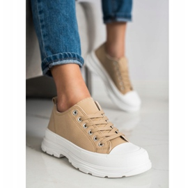 SHELOVET Beige Sneakers On The Platform 4