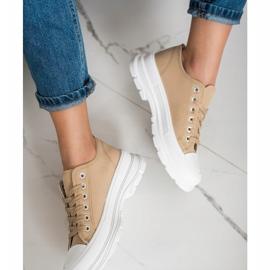SHELOVET Beige Sneakers On The Platform 1