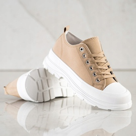 SHELOVET Beige Sneakers On The Platform 2