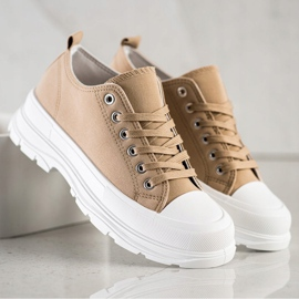 SHELOVET Beige Sneakers On The Platform 3