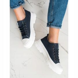SHELOVET Navy Blue Sneakers On The Platform 2